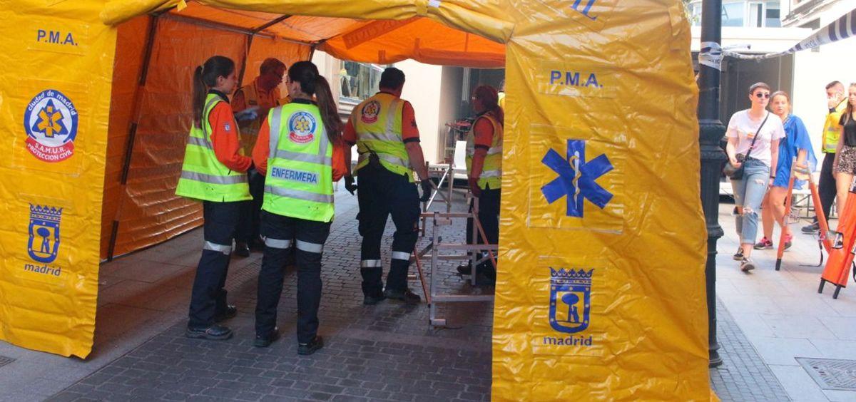 Uno de los hospitales de campaña instalados en el centro de Madrid durante el Orgullo