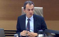 El ministro de Ciencia Pedro Duque durante su comparecencia en la Comisión en el Congreso