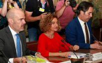 Meritxell Batet, ministra de Política Territorial y Función Pública, durante la reunión de este lunes con los sindicatos