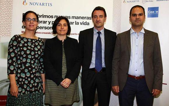 Mª Victoria Navarro, del Hospital Universitario La Paz; Àngels Costa, de NovartisPedro Plazuelo, presidente de CEADE; y Marco Garrido, de la US.