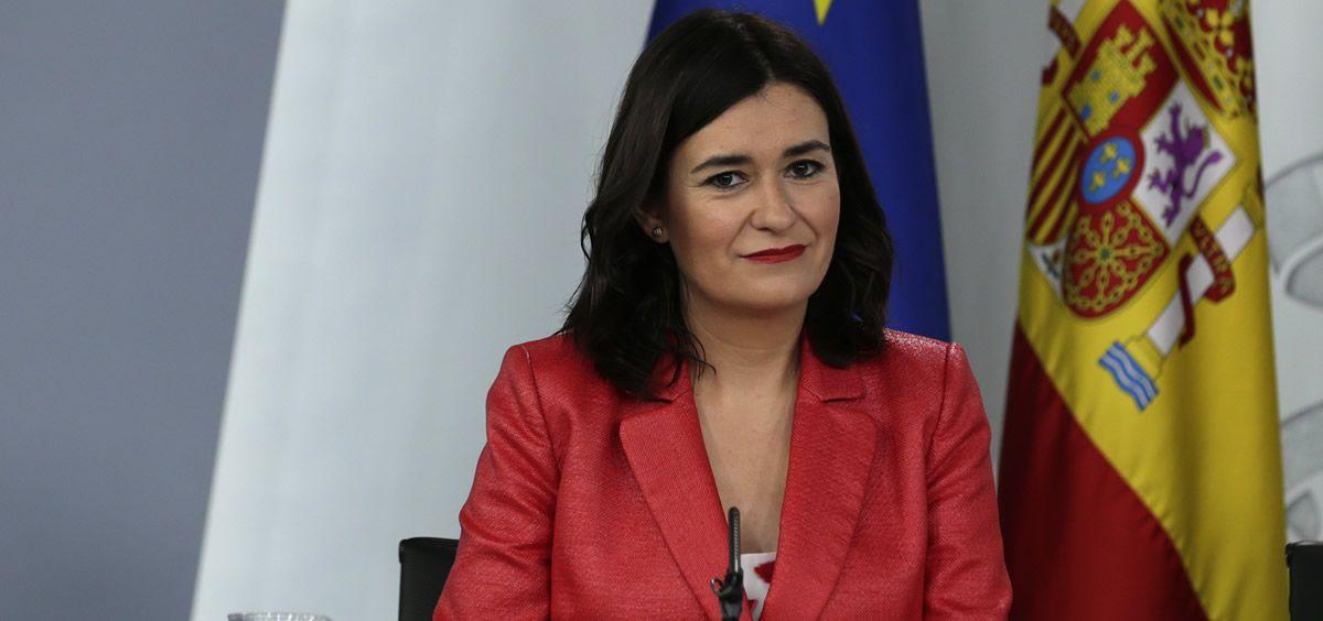 La ministra de Sanidad Carmen Montón durante la rueda de prensa posterior a un Consejo de Ministros del Gobierno