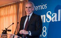 Enrique Ruiz Escudero, consejero de Sanidad de la Comunidad de Madrid, durante los 'Premios ConSalud 2018'
