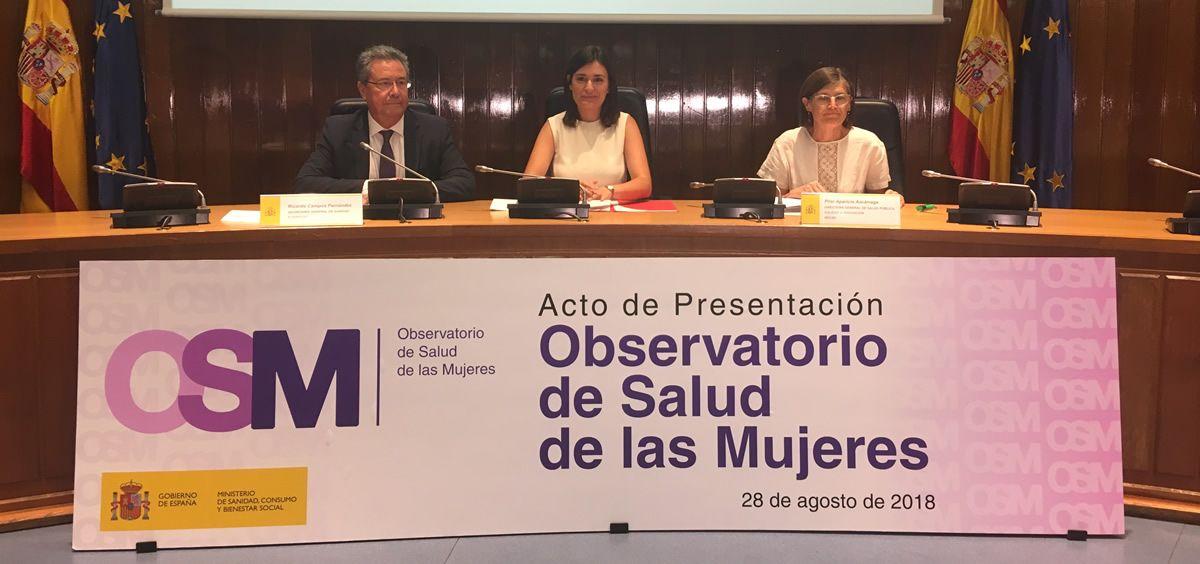 La ministra de Sanidad, Carmen Montón, durante el acto de presentación del Observatorio de Salud de las Mujeres