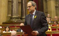 El presidente de la Generalitat de Cataluña, Quim Torra, durante una sesión en el pleno del Parlament.