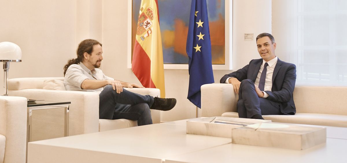 Pablo Iglesias y Pedro Sánchez reunidos en el Palacio de la Moncloa.