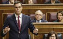 Pedro Sánchez, presidente del Gobierno, durante la sesión de control este miércoles en el Congreso.
