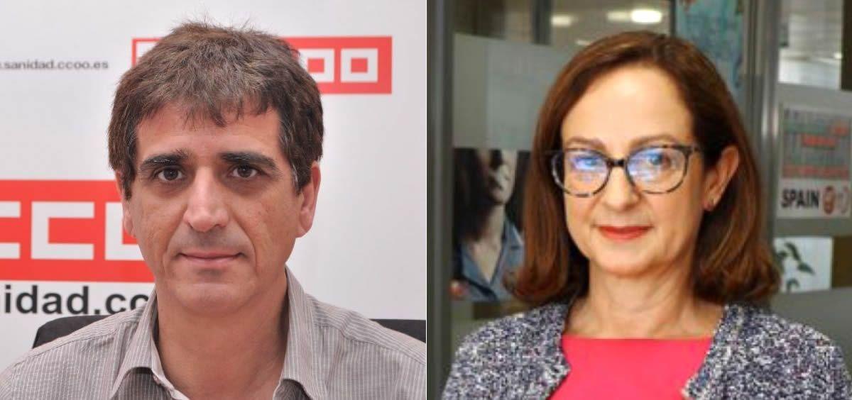 Antonio Cabrera, de CC.OO., y Gracia Álvarez de UGT