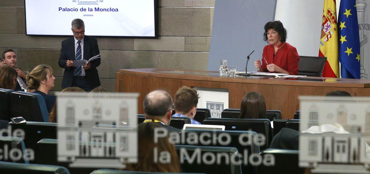 Isabel Celaá, portavoz del Gobierno en la rueda de prensa tras el Consejo de Ministros