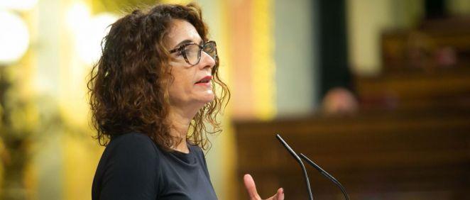 María Jesús Montero, ministra de Hacienda, interviniendo este miércoles en el Congreso de los Diputados.