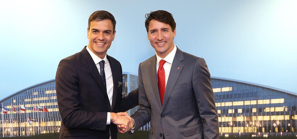 El presidente del Gobierno, Pedro Sánchez, junto al primer ministro de Canadá, Justin Trudeau, en una reunión el pasado mes de julio. Moncloa / Fernando Calvo