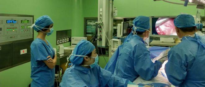 Patricia Gutiérrez, durante su rotación como MIR en el Shanghai Pulmonary Hospital, en China