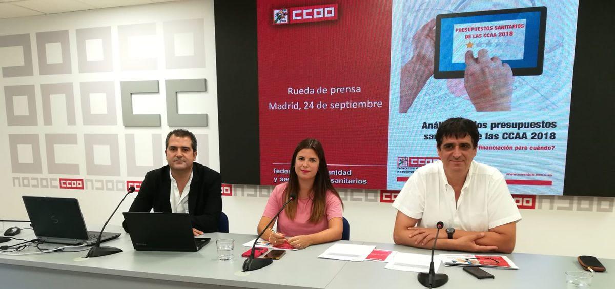 De izquierda a derecha: Pablo Caballero, Rocío Ruiz y Antonio Cabrera, este lunes en la sede de CCOO en Madrid