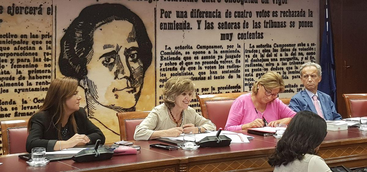 La ministra de Sanidad (centro), María Luisa Carcedo, durante su comparecencia en la Comisión de derechos de la Familia, la Infancia y la Adolescencia en el Senado.