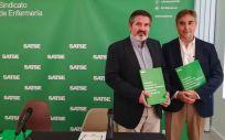 De izquierda a derecha: Alfonso Jesús Cruz Lendínez y Manuel Cascos, en la presentación del informe que Satse ha dado a conocer este martes