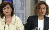 Carmen Calvo, vicepresidenta y ministra de Igualdad, y Meritxell Batet, ministra de Función Pública.