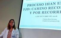 La doctora Ruiz, en un momento de su intervención en la jornada sobre lactancia materna