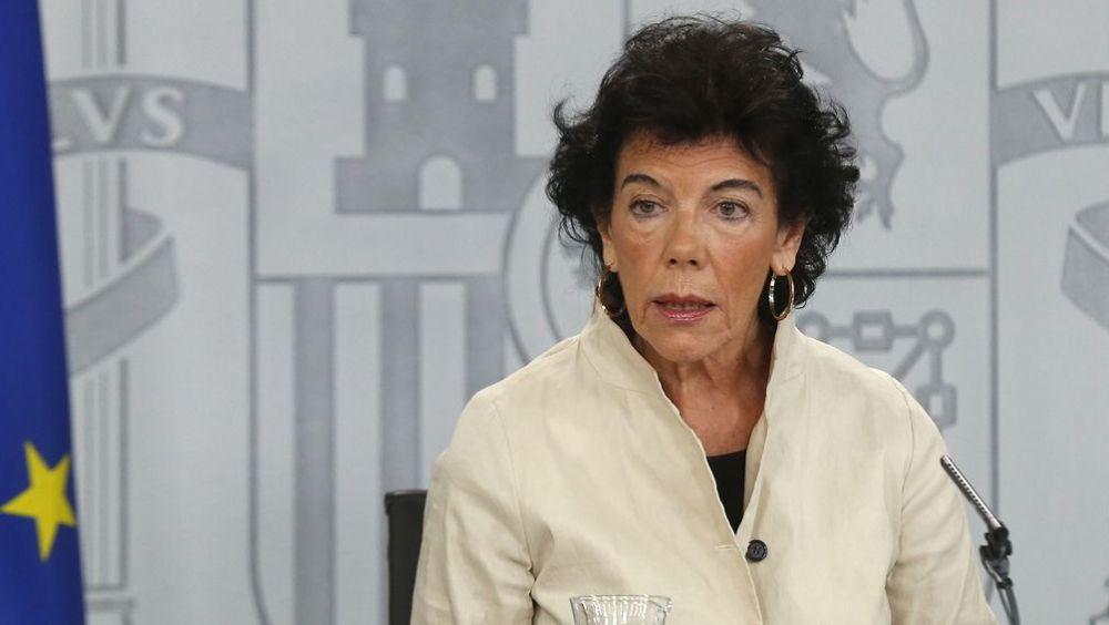 Isabel Celaá, portavoz del Gobierno, en rueda de prensa posterior al Consejo de Ministros.