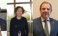 De izquierda a derecha, los doctores José Luis Almudí Alegre, María Isabel Moya y Fernando Vizcarro, presidentes de los colegios médicos de Valladolid, Alicante y Tarragona