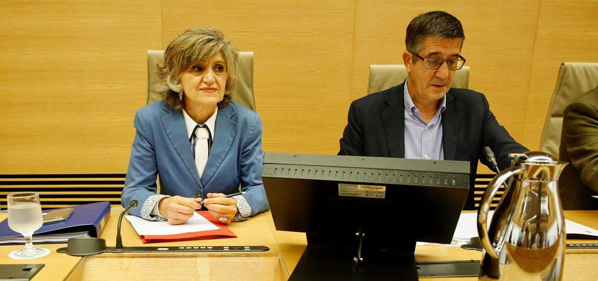 La ministra de Sanidad, María Luisa Carcedo, junto a Patxi López, presidente de la Comisión de Sanidad del Congreso.