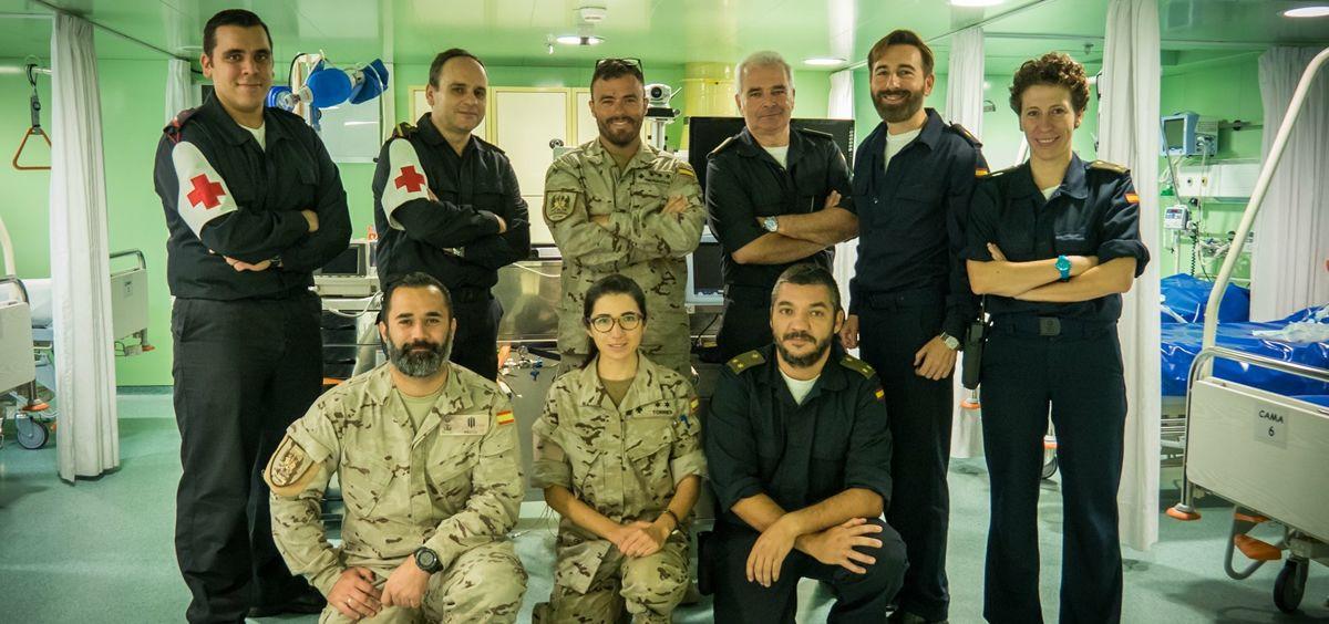 Equipo de asistencia sanitaria de la Armada Española a bordo |  Imagen cedida por la Escuela Naval Militar (Marín)