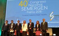 Los consejeros de Sanidad y Salud de Extremadura, Andalucía y Baleares, junto a los presidentes de la OMC, SEMERGEN y del Comité Organizador del 40º Congreso Nacional
