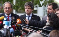 Quim Torra, Carles Puigdemont y Toni Comín, durante la presentación a los medios del Consell de la República