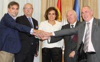 La exministra de Sanidad, Dolors Montserrat, anuncia en octubre de 2017 el acuerdo de prescripción enfermera con el respaldo del Foro de las Profesiones Sanitarias