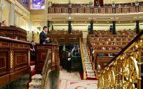 Los diputados del Congreso, atentos a una intervención del presidente del Gobierno, Pedro Sánchez.