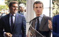 Albert Rivera (Ciudadanos), Pablo Casado (PP) y Pedro Sánchez, presidente del Gobierno.
