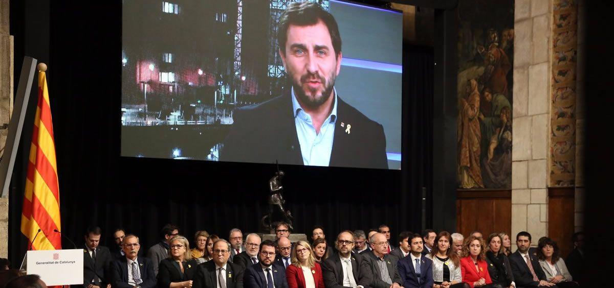 El exconsejero de Salud de la Generalitat de Cataluña, Toni Comín, durante el acto de presentación del Consell de la República | Foto: Generalitat de Cataluña