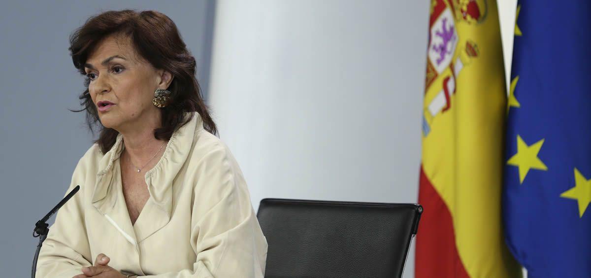 Carmen Calvo, la vicepresidenta primera del Gobierno y ministra de Presidencia, Relaciones con las Cortes y Memoria Democrática