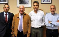 De izquierda a derecha: José Luis Cobos, Florentino Pérez Raya, Manuel Cascos y Rafael Reig, representantes del Consejo General de Enfermería y del Sindicato de Enfermería (Satse)