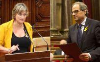 Alba Vergés, consejera de Salud de Cataluña, y el presidente de la Generalitat, Quim Torra.