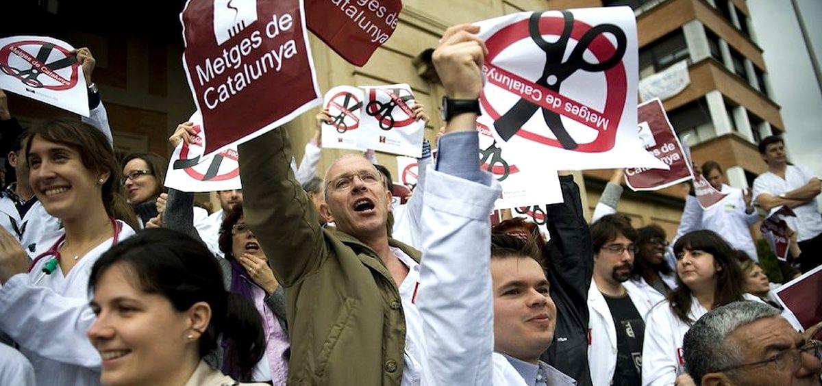 Imagen de los médicos catalanes durante una de sus manifestaciones. (Foto. MC)