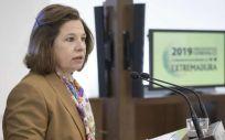 Pilar Blanco, vicepresidenta de Extremadura, durante la presentación de los presupuestos para 2019