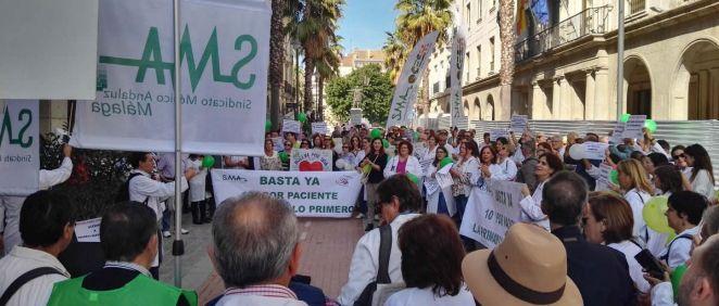 Una de las protestas de sanitarios del Servicio Andaluz de Salud (SAS) convocada por el SMA en Huelva.