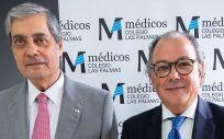 El presidente del Colegio de Médicos de Las Palmas, Pedro Cabrera, y el secretario general de la Asociación Española de Medicamentos Genéricos (Aeseg), Ángel Luis Rodríguez de la Cuerda