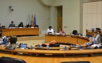 Imagen de una de las comisiones sectoriales de sanidad, política social y empleo celebrada en el Parlamento de Galicia.