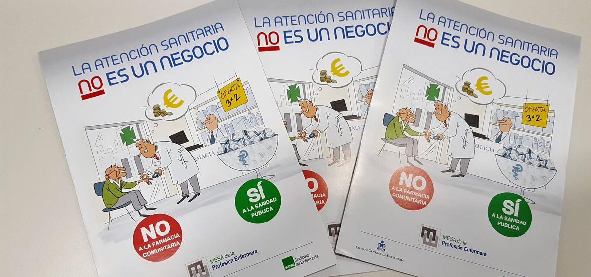 """Con el título """"La atención sanitaria NO es un negocio"""", más de 100.000 folletos informativos se distribuirán, inicialmente, en los centros de salud."""
