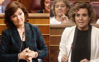 Carmen Calvo, vicepresidenta del Gobierno, y Dolors Montserrat, exministra de Sanidad y actual portavoz del PP en el Congreso.