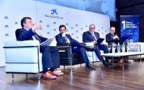De izquierda a derecha: Juan Ramón Rábade, Fernando Prados, Juan Blanco y José Antonio Ballesteros, durante su intervención en el I Foro de Comunicación Salud Digital | Foto: Miguel Ángel Escobar