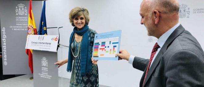 La ministra de Sanidad, María Luisa Carcedo, presentando el calendario vacunal común. /  Nacho Cortés