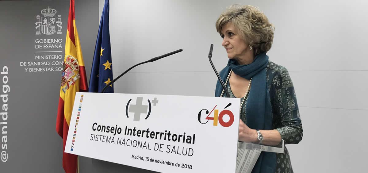 La ministra de Sanidad, María Luisa Carcedo, haciendo declaraciones a los medios tras finalizar su primer Consejo Interterritorial. Nacho Cortés