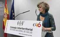 La ministra de Sanidad, María Luisa Carcedo, haciendo declaraciones a los medios tras finalizar su primer Consejo Interterritorial. / Nacho Cortés