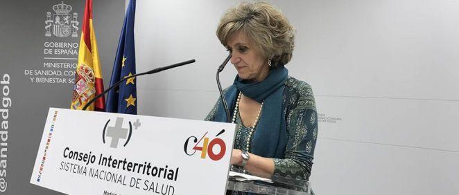 La ministra de Sanidad, María Luisa Carcedo, al inicio de su rueda de prensa tras el CISNS. / Nacho Cortés