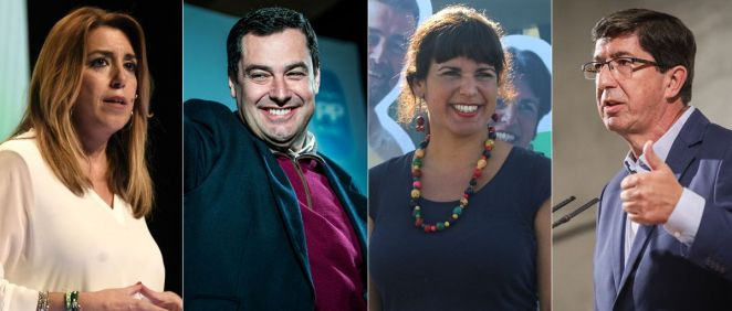 Candidatos a la presidencia de la Junta de Andalucía Susana Díaz (PSOE), Juanma Moreno (PP), Teresa Rodríguez (Adelante Andalucía) y Juan Marín (Ciudadanos).