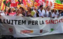Manifestación organizada hace unos meses por varios sindicatos en Cataluña.