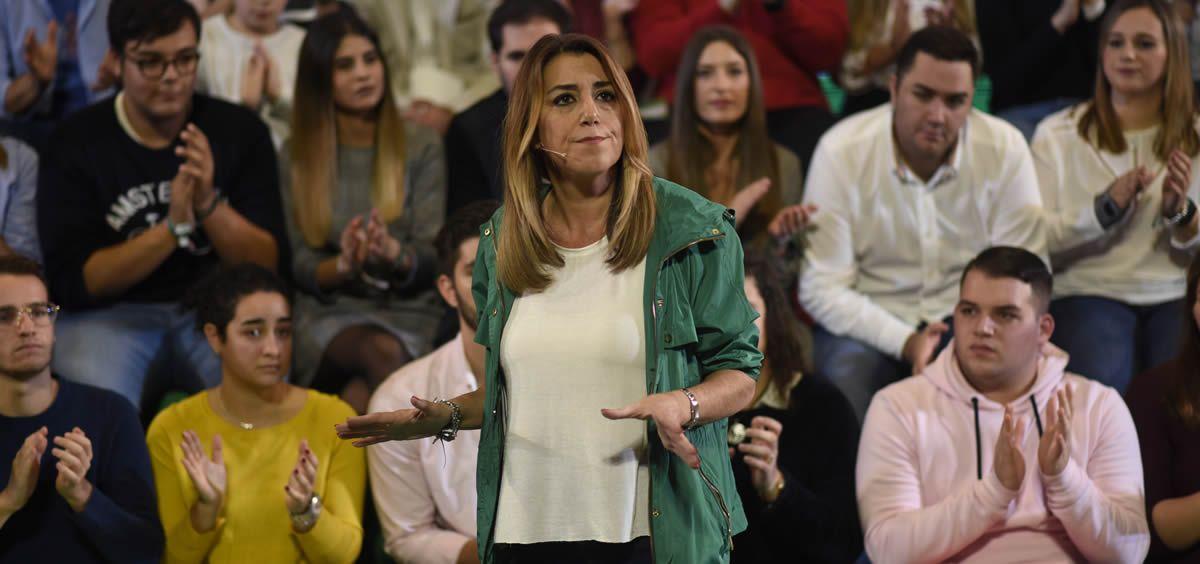 La presidenta de la Junta de Andalucía, Susana Díaz, en un acto de campaña electoral.