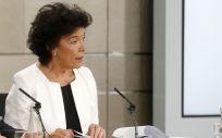 Isabel Celáa, portavoz del Gobierno, durante la rueda de prensa posterior al Consejo de Ministros.