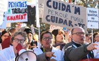 Imagen de los sanitarios catalanes durante su tercera jornada de huelga.